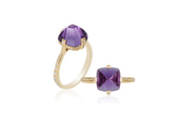 Closeup photo of Sugarloaf Pave Amethyst Ring