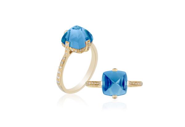 Closeup photo of Sugarloaf Pave London Blue Topaz Ring