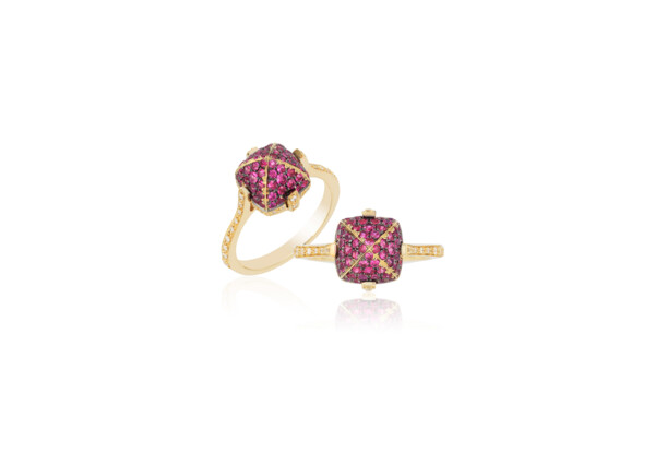 Closeup photo of Sugarloaf Pave Ruby Ring