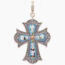 Closeup photo of Turquoise Italian Grand Tour Micro Mosaic Cross