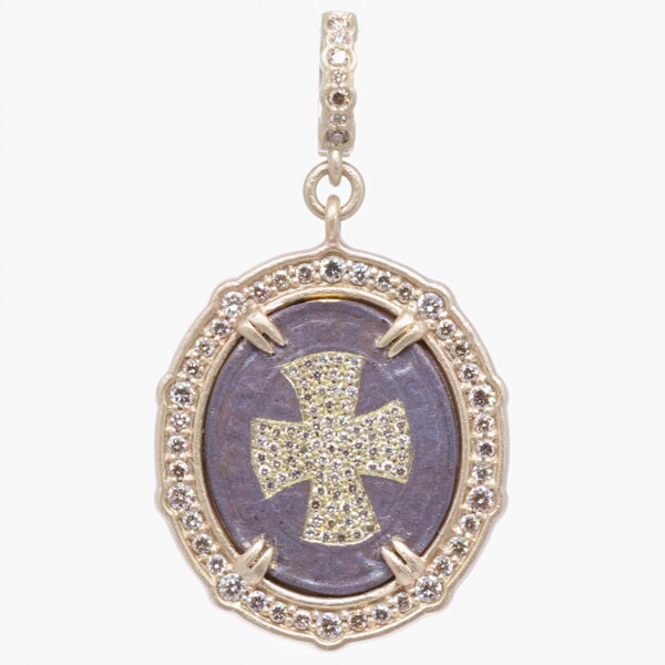 Closeup photo of St. Benedict with Diamond Cross Shield Pendant