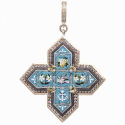 Closeup photo of Italian Grand Tour Micro Mosaic Turquoise Maltese Cross Pendant