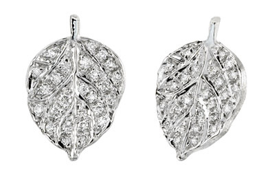 Pave Diamond And Aspen Leaf Earrings