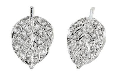 Closeup photo of Pave Diamond And Aspen Leaf Earrings