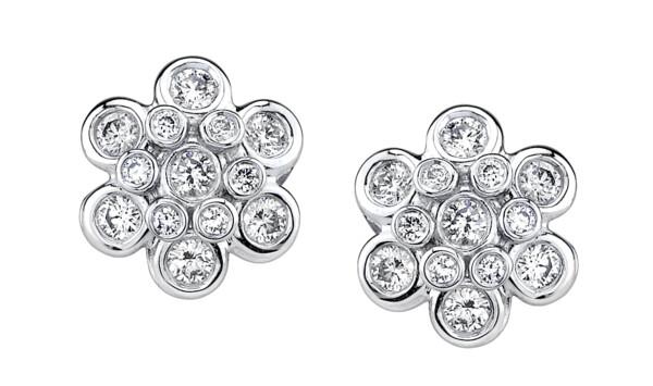 Closeup photo of Domed Diamond Earrings