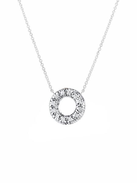 Closeup photo of Diamond Embrace Donut Pendant With Chain