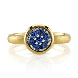 Closeup photo of Blue Sapphire Ring With Aspen Finish