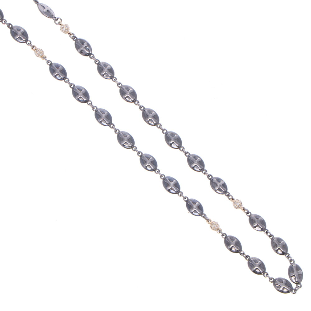 """Polished Cross Shield Chain With Yellow Gold Diamond Stations 21"""""""