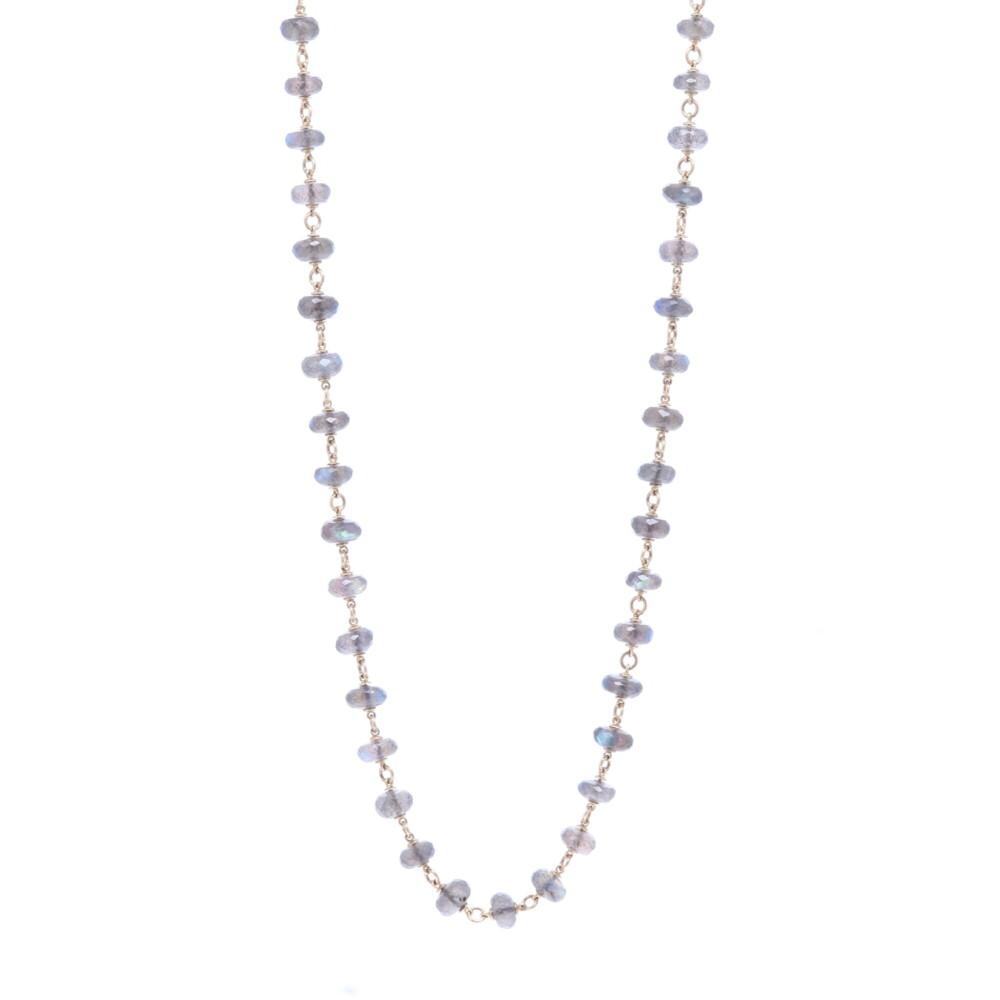 """Labradorite Gold Necklace 26"""""""