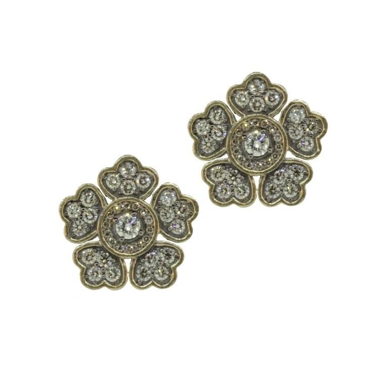 In Bloom Large Flower Diamond Stud Earrings