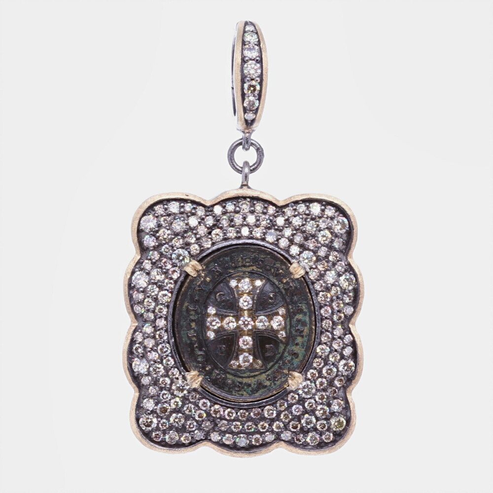 Ancient St. Benedict Shield Medal Pendant