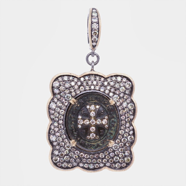 Closeup photo of Ancient St. Benedict Shield Medal Pendant