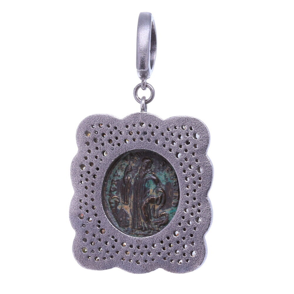 Image 2 for Ancient St. Benedict Shield Medal Pendant