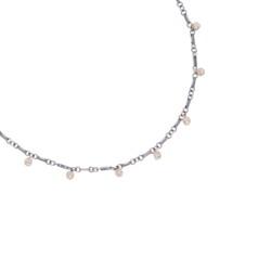"Closeup photo of Tri Colored Diamond Sphere Necklace 18"""