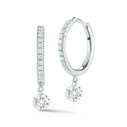 Closeup photo of Dangle Pave Hoops Diamond Earrings
