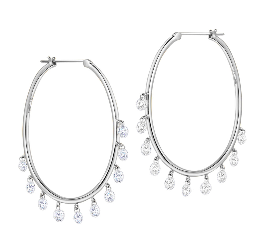 Image 2 for Oh My Jazz Oval Hoops Diamond Earrings