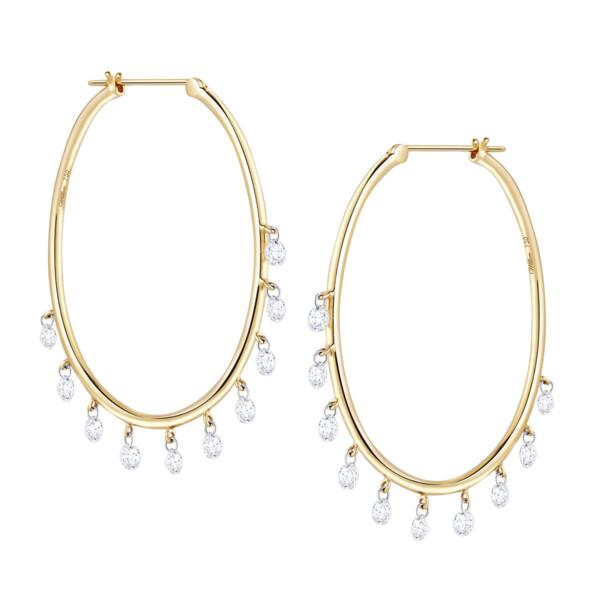 Closeup photo of Oh My Jazz Oval Hoops Diamond Earrings