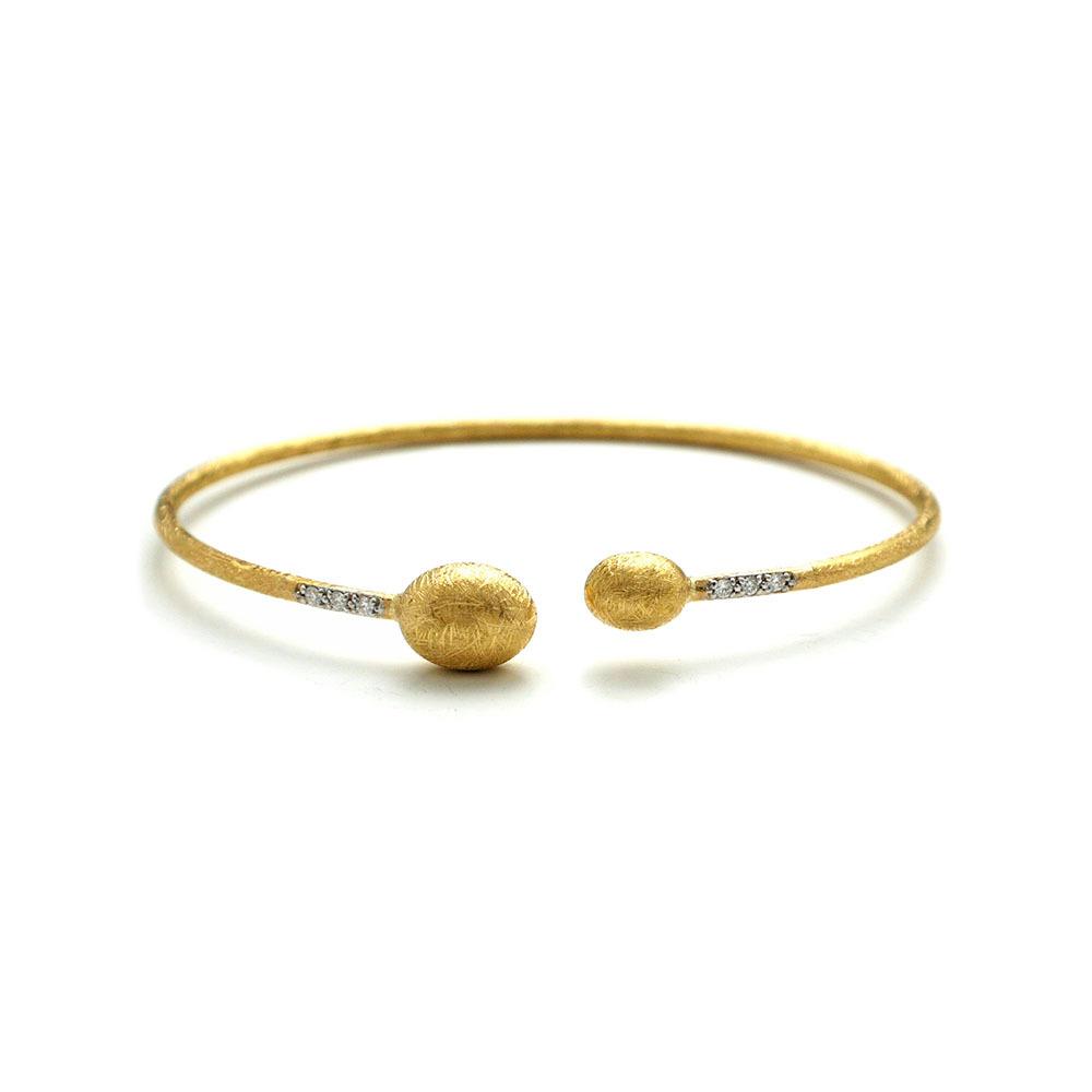 Dancing In The Rain Small Bead Gold Wrap Bangle Bracelet