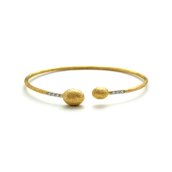 Closeup photo of Dancing In The Rain Small Bead Gold Wrap Bangle Bracelet