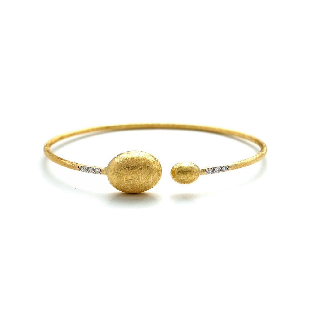 Dancing In The Rain Large Bead Gold Wrap Bangle Bracelet