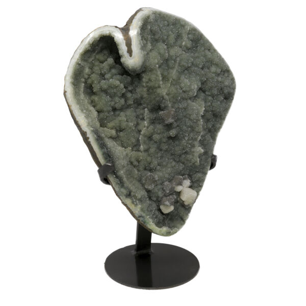 Closeup photo of Druze Geode Plaque On Stand -Mint Green