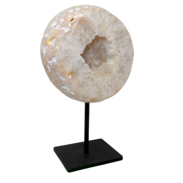 Closeup photo of Beige Pink Druze Geode On Post Stand with Polished Back & Quartz Druze Inclusions