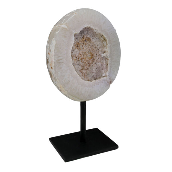 Closeup photo of Speckled Druze Geode On Post Stand with Polished Back
