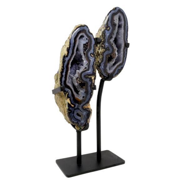 Closeup photo of Druze Geode Pair In Stand with Black & Blue Banding