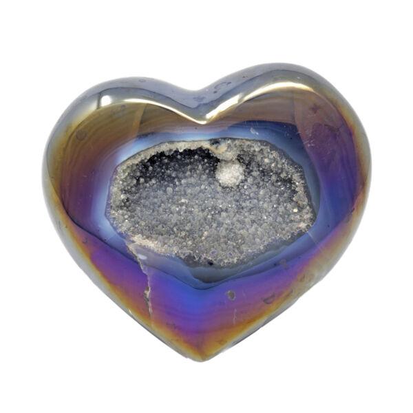 Closeup photo of Iridescent Heart -Indigo Agate with White Pop Of Druze