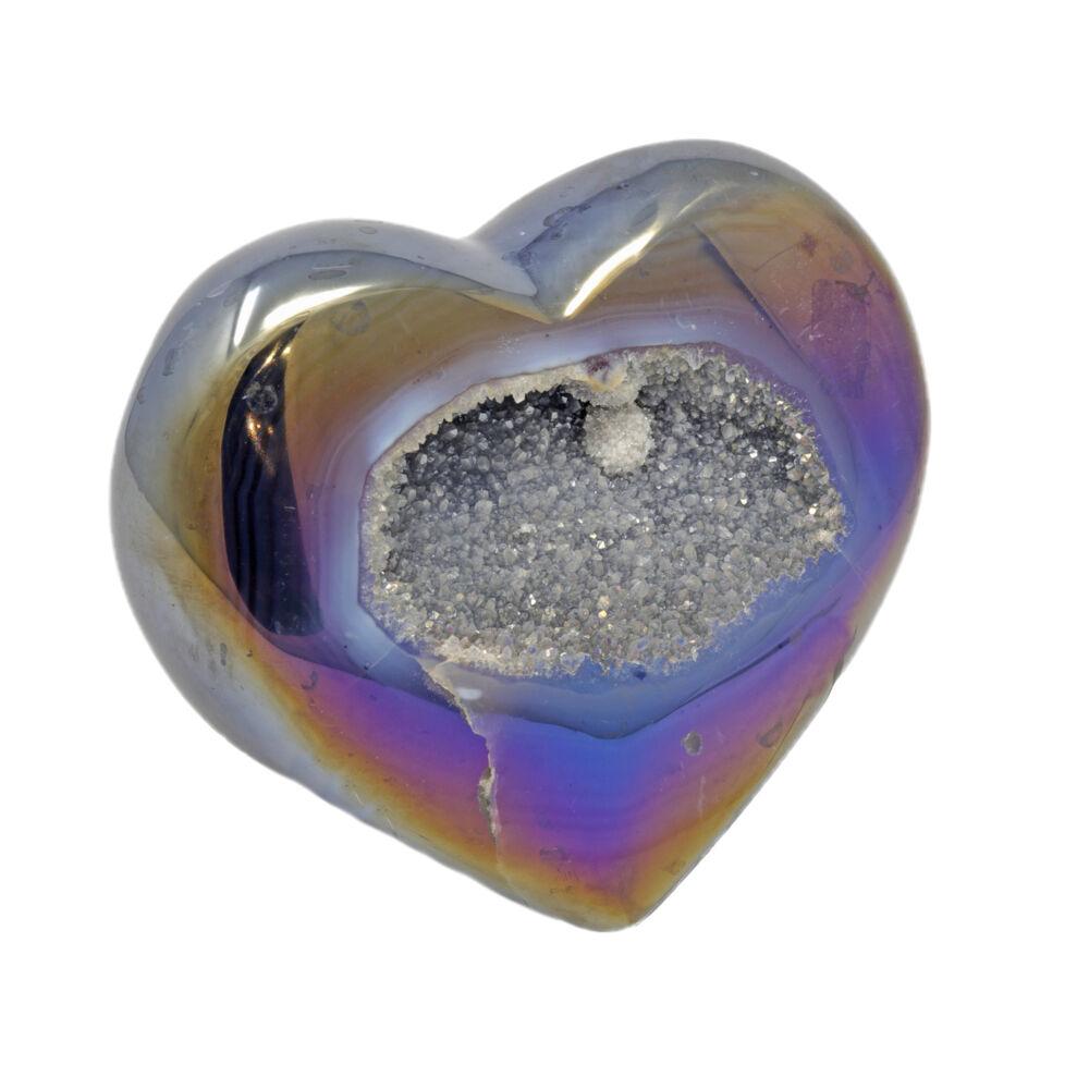 Iridescent Heart -Indigo Agate with White Pop Of Druze