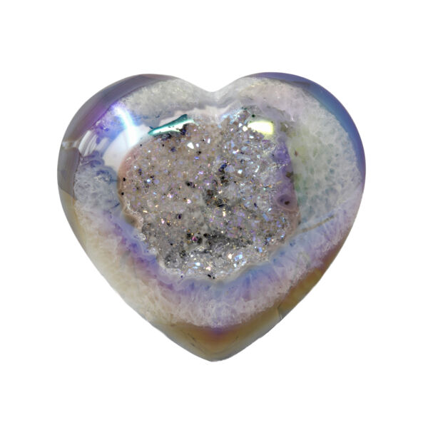 Closeup photo of Iridescent Heart -Speckled Druze