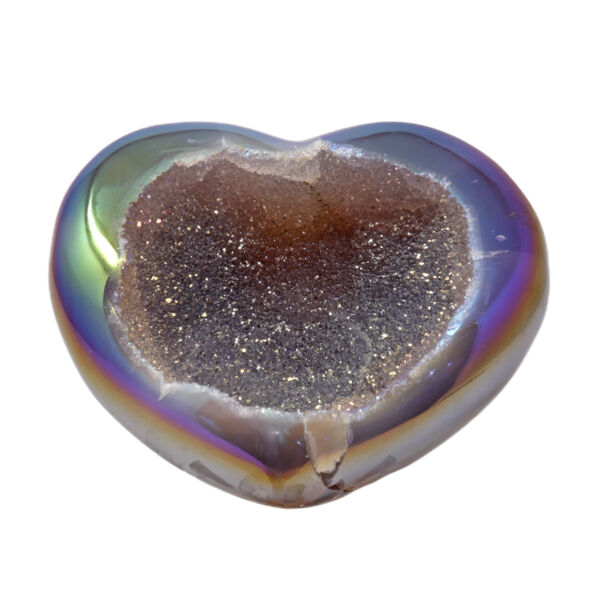 Closeup photo of Iridescent Heart -Rainbow Agate With Druze