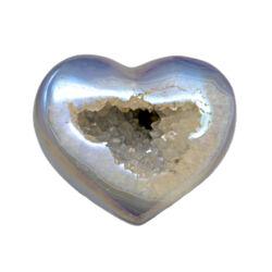 Closeup photo of Iridescent Heart -Blue Agate with White Quartz Vug