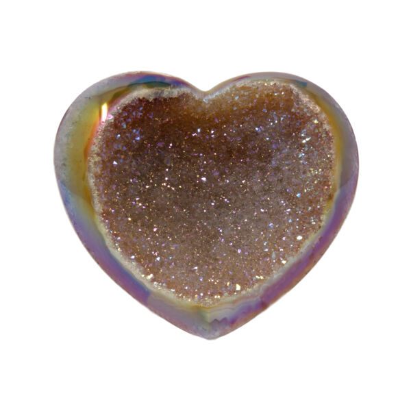 Closeup photo of Iridescent Heart -Carnelian Agate with Druze Bowl