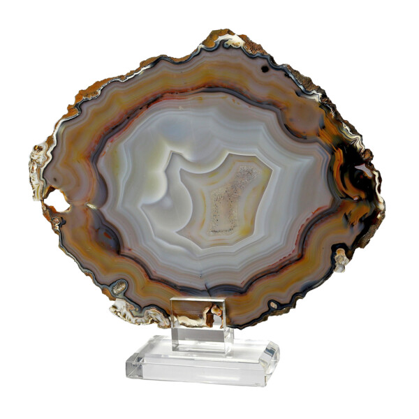 Closeup photo of Agate Slice On Acrylic Screw-in Stand With Multi Colors And Fortified Patterns