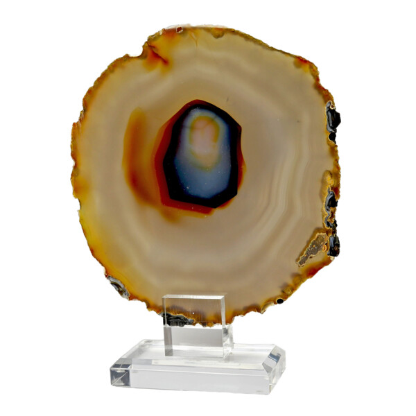 Closeup photo of Agate Slice On Acrylic Screw-in Stand With Blue Center & Lavender & Caramel Tones