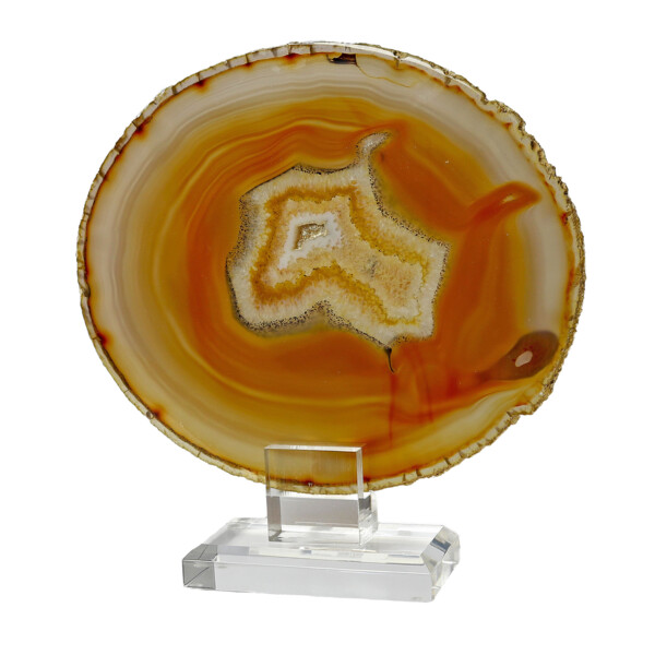 Closeup photo of Agate Slice On Acrylic Screw-in Stand With Citrus Carnelian & Citrine Bands & Druze Pockets