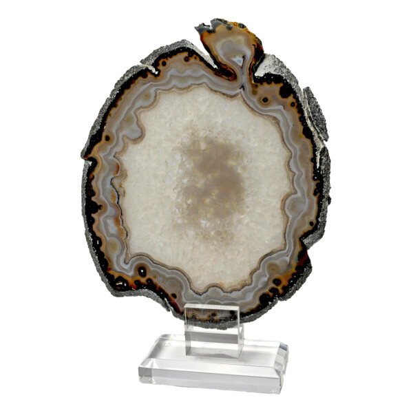 Closeup photo of Agate Slice On Acrylic Screw-in Stand With Gray Beige Tubular Agate Edge & Quartz Crystal