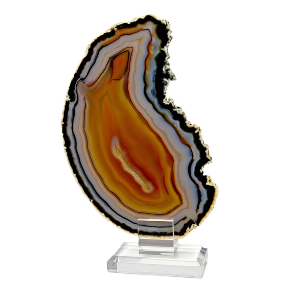 Closeup photo of Agate Slice On Acrylic Screw-in Stand With White Exterior & Colorful Interior