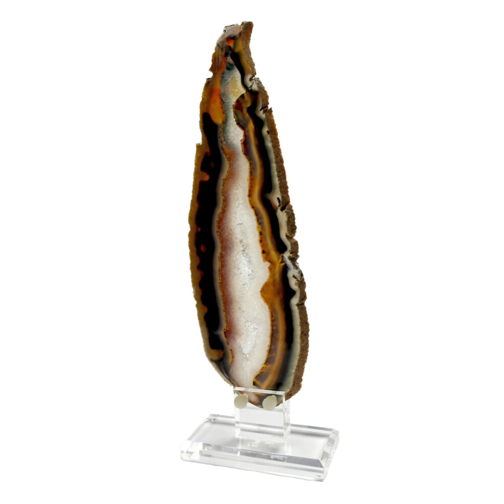 Agate Slice On Acrylic Screw-in Stand Elongated With White Exterior & Quartz Vug Interior