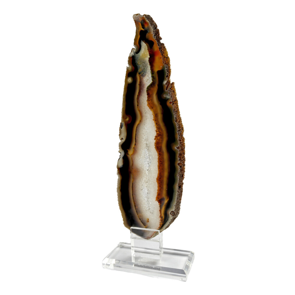 Image 2 for Agate Slice On Acrylic Screw-in Stand Elongated With White Exterior & Quartz Vug Interior