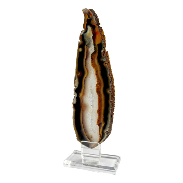 Closeup photo of Agate Slice On Acrylic Screw-in Stand Elongated With White Exterior & Quartz Vug Interior