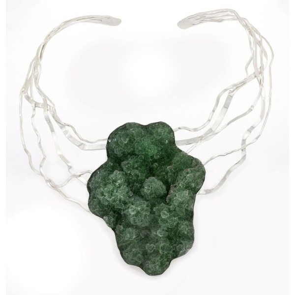 Closeup photo of Natural Green Fluorite Neck Collar