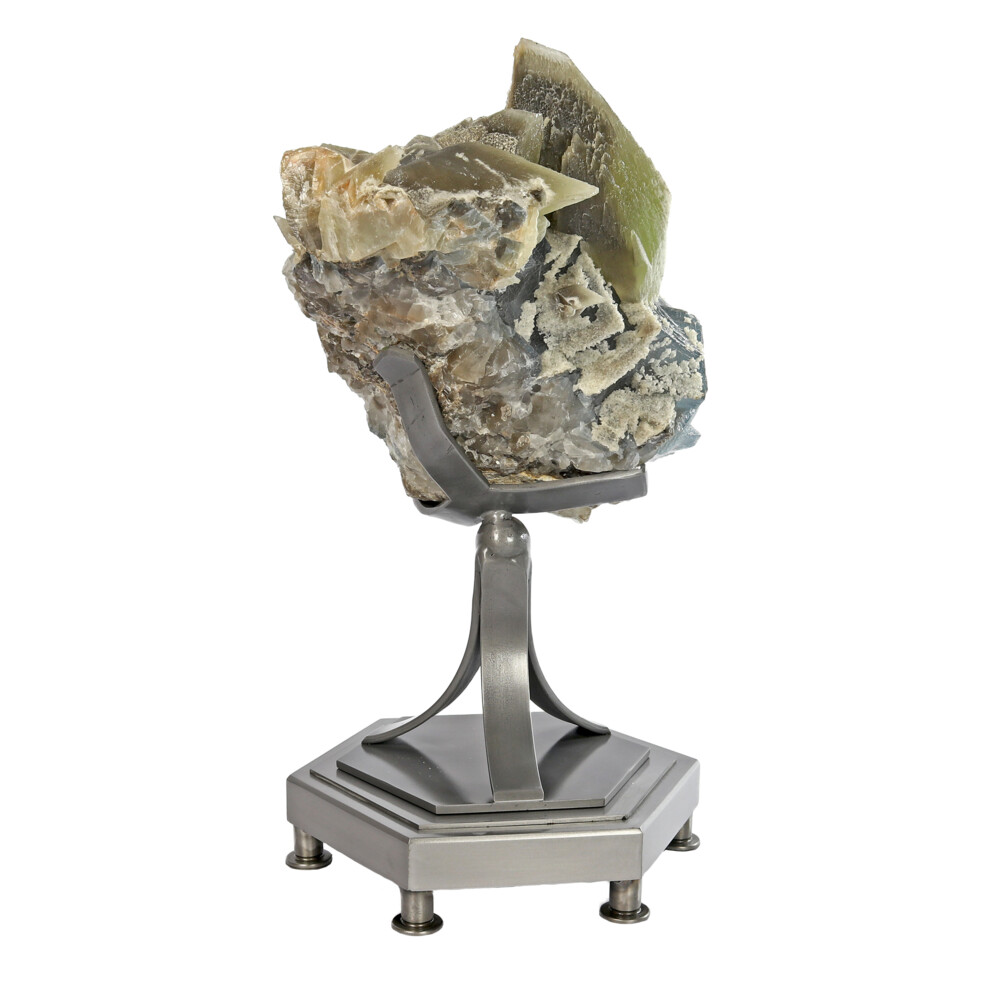 Image 2 for Calcite Twin Crystals On Cubic Fluorite Cluster With Custom Rotating Stand