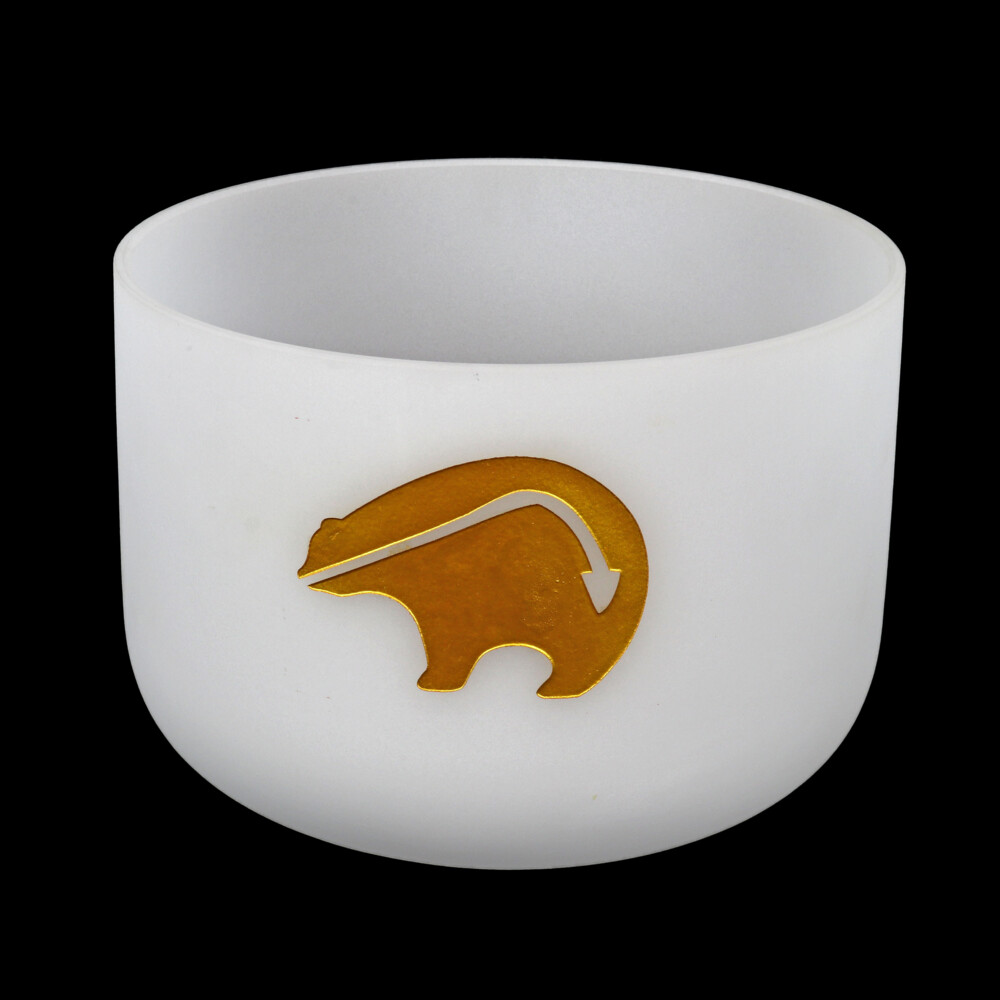 "Image 2 for 10"" Etched Bear Frosted Quartz Singing Bowl Note D Perfect"