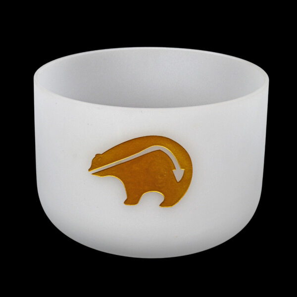 """Closeup photo of 10"""" Etched Bear Frosted Quartz Singing Bowl Note D Perfect"""