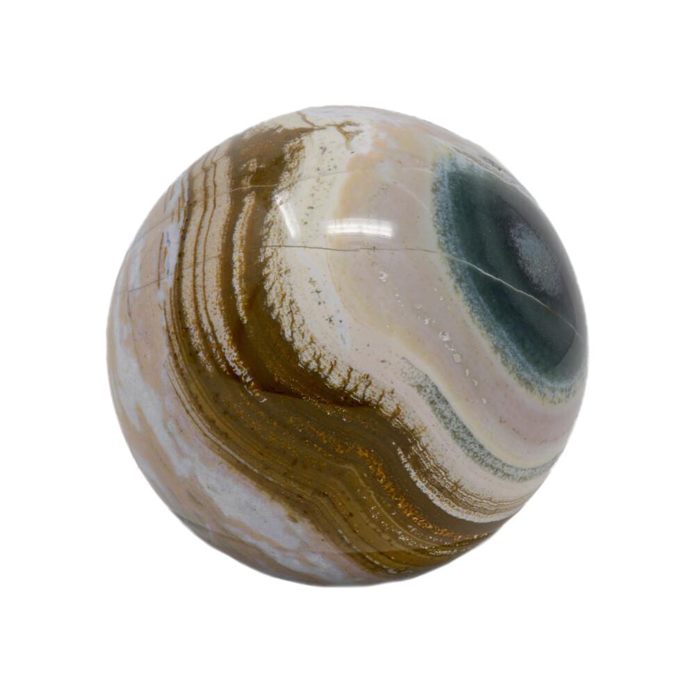 Ocean Jasper Sphere -Pinks With Brown Center Banding