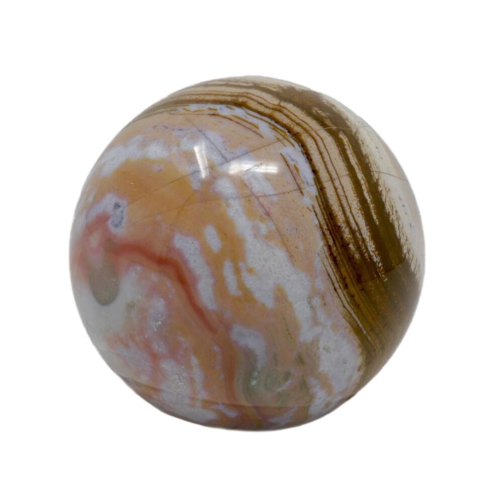 Image 2 for Ocean Jasper Sphere -Pinks With Brown Center Banding