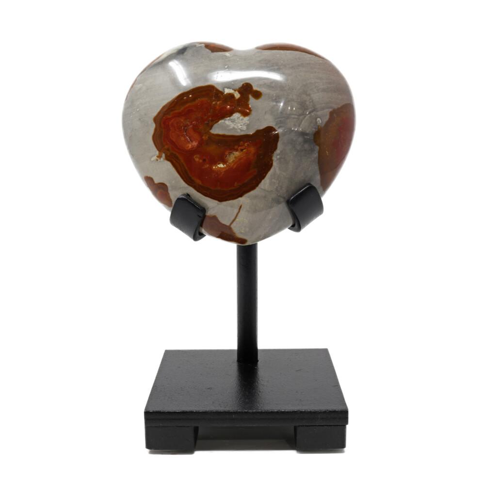 Polychrome Jasper Heart On Custom Stand