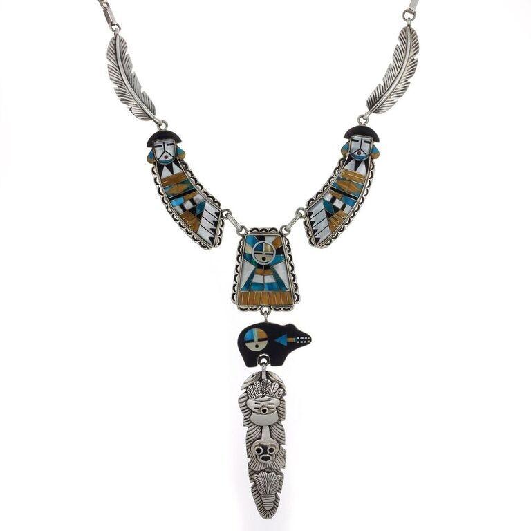 Micro Inlay Goddess Bear Necklace